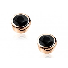 Zinzi oorbellen zilver met zwarte zirconia rosékleurig ZIO322N