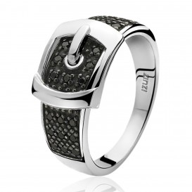 Zinzi ZIR682Z Ring Gesp zilver met zwarte zirconia