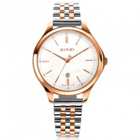 Zinzi ZIW1018 Horloge Classy + gratis armband zilver-en rosekleur-parelmoer 34 mm