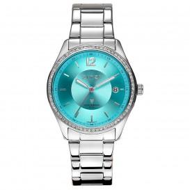 Zinzi ZIW310 horloge + gratis armband staal zilverkleurig-turquoise