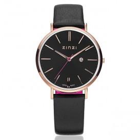 Zinzi horloge Retro staal/leder zwart-rosékleurig ZIW404