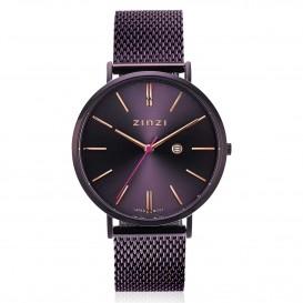 Zinzi ZIW416M Horloge Retro + Gratis armband 38 mm paars-rosekleurig