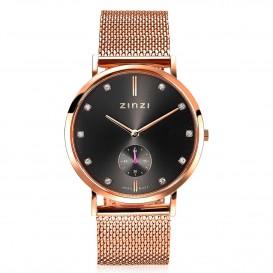 Zinzi ZIW427M Horloge Retro + Gratis armband 38 mm rosekleurig-grijs