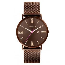 Zinzi horloge Retro bruin-rosékleurig 34 mm + gratis armband ZIW515M