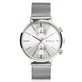 Zinzi horloge Traveller Dual Time Silver + Gratis armband 39 mm ZIW702M