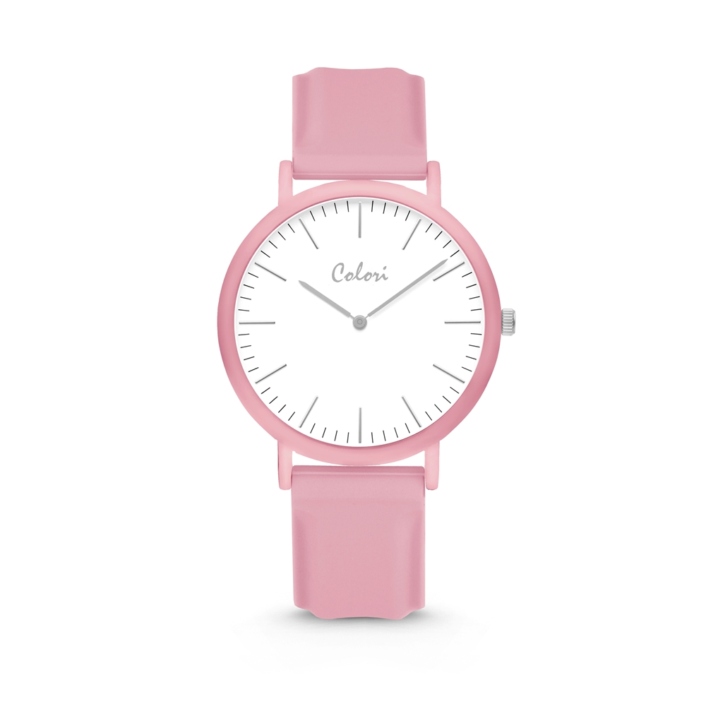 Colori Essentials 5 COL582 Horloge - Siliconen Band - Ø 40 mm - Roze