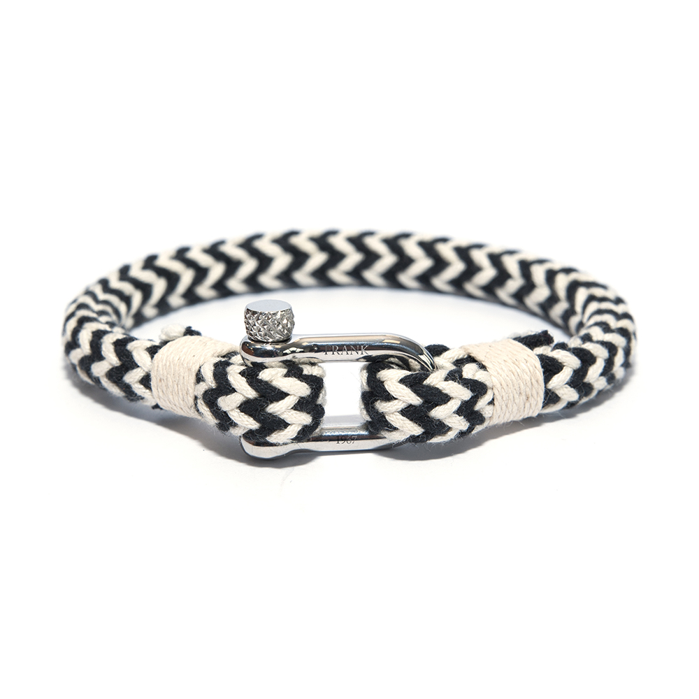 Frank 1967 Armband Rope Nylon/Staal zwart-wit one-size 7FB-0137