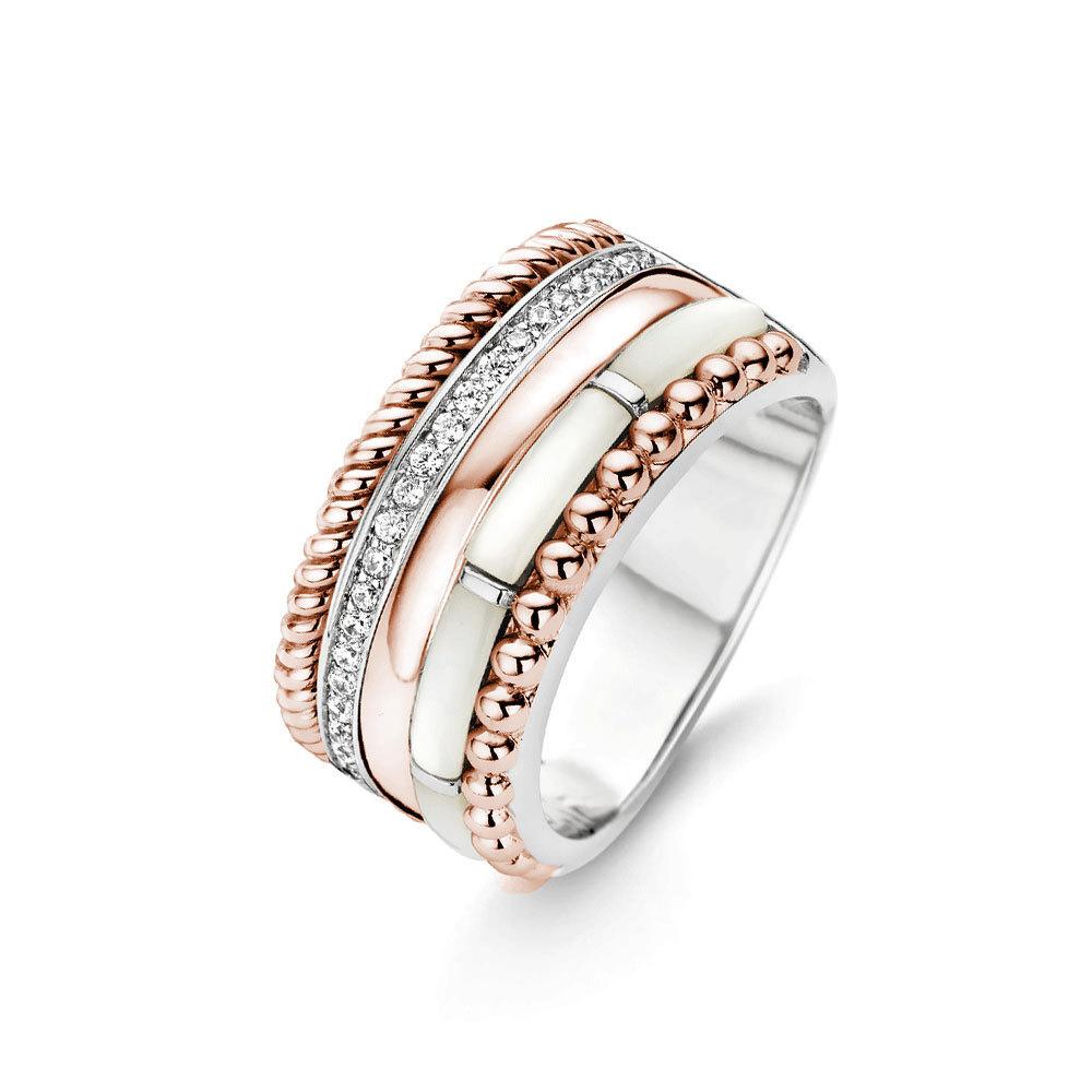 Ti Sento Milano 12038MR Ring met zirconia en parelmoer zilver rosekleurig Maat 56