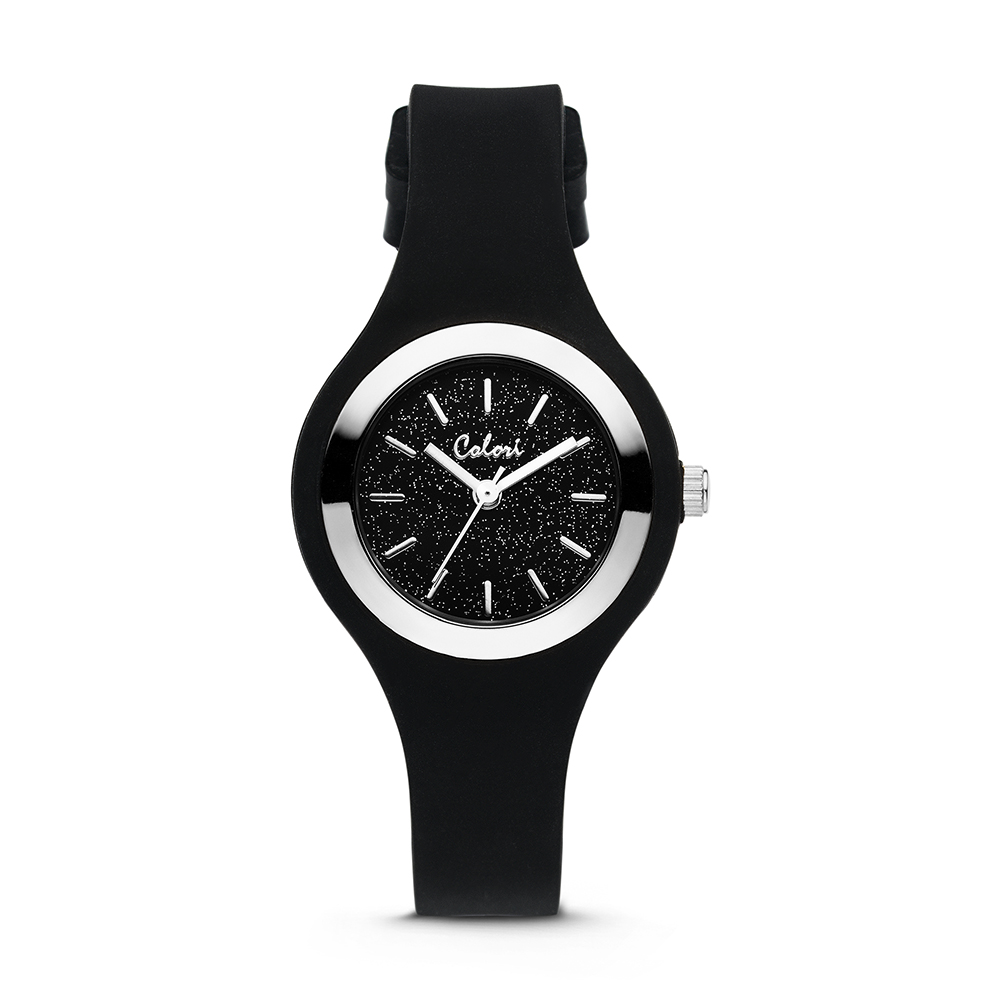 Colori Macaron Sparkle 5 COL540 Horloge - Siliconen Band - Ø 30 mm - Zwart - Zilverkleurig