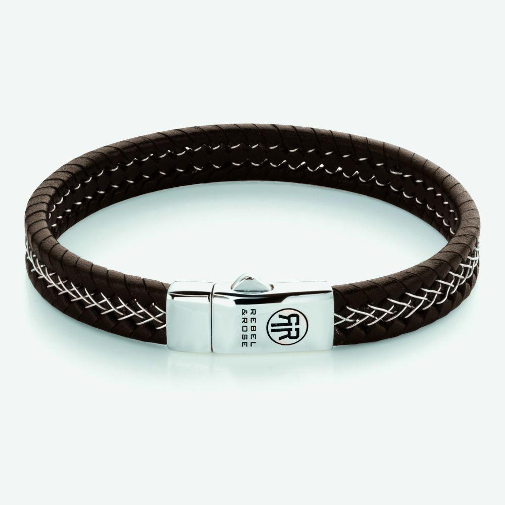 Rebel and Rose RR L0101 S Armband Silver Wired Brown leder zilver bruin 9 mm L 21 cm