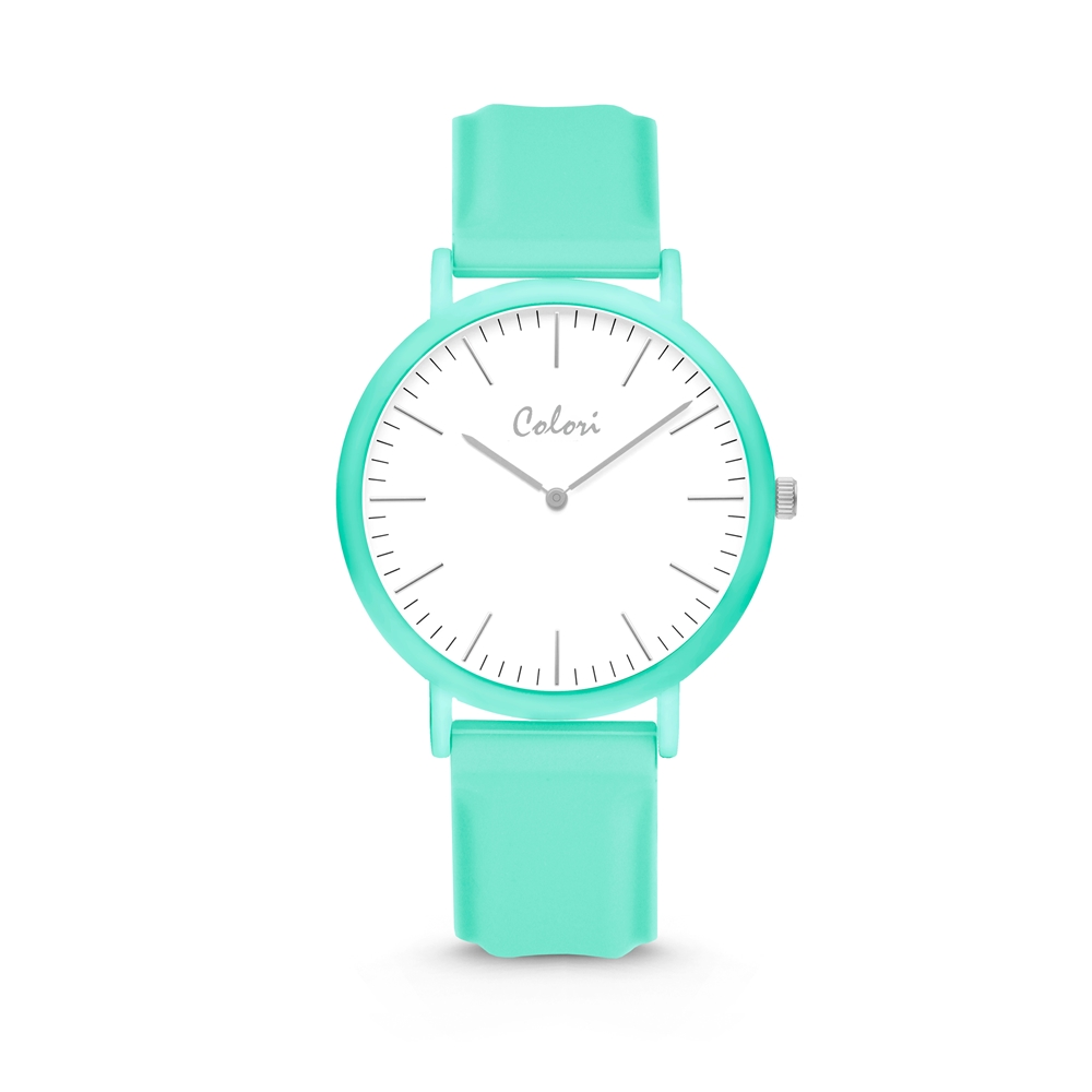 Colori Essentials 5 COL583 Horloge - Siliconen Band - Ø 40 mm - Mint Groen