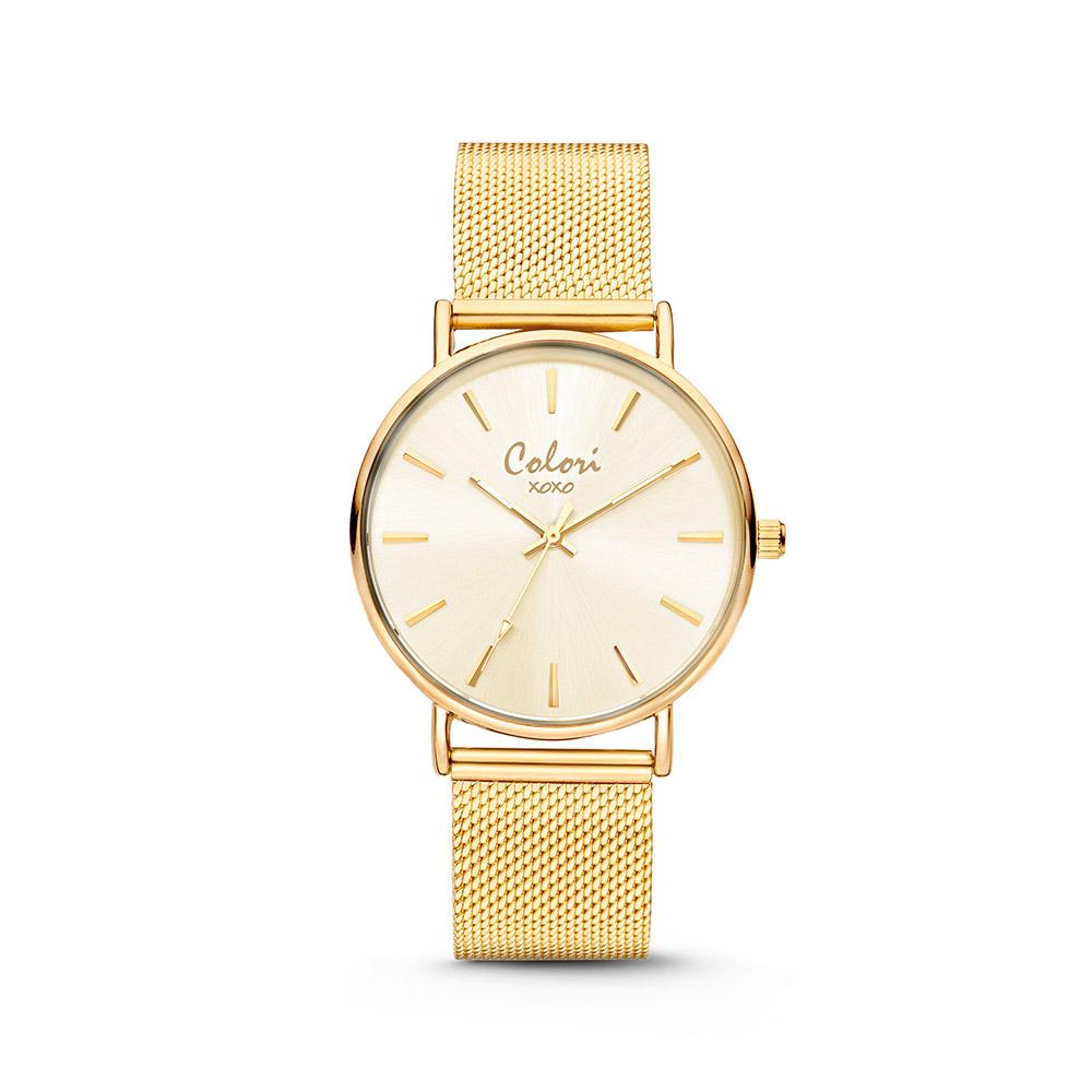 Colori XOXO 5 COL535 Horloge - Mesh Band - Ø 36 mm - Goudkleurig