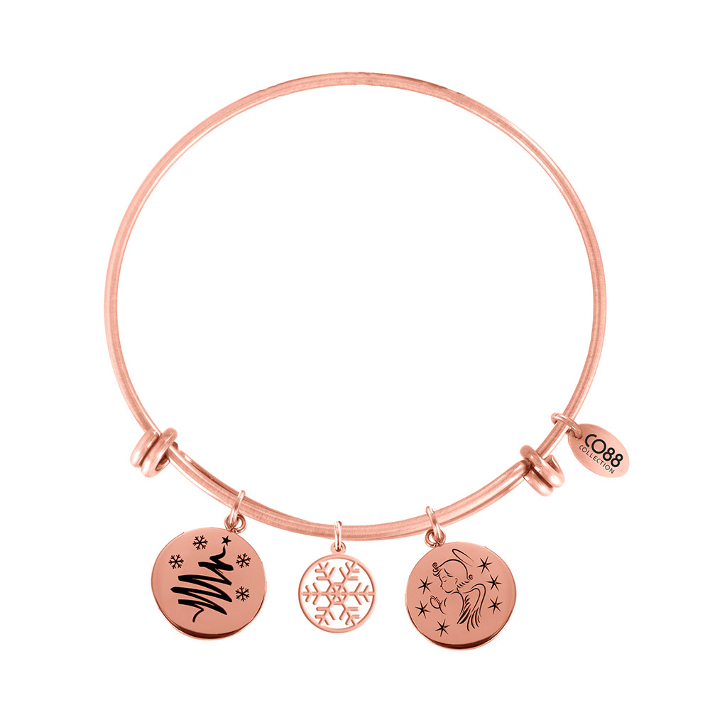 CO88 Armband Bangle 'Kerstboom/Sneeuw/Engel' staal/rose, one-size 8CB-16002