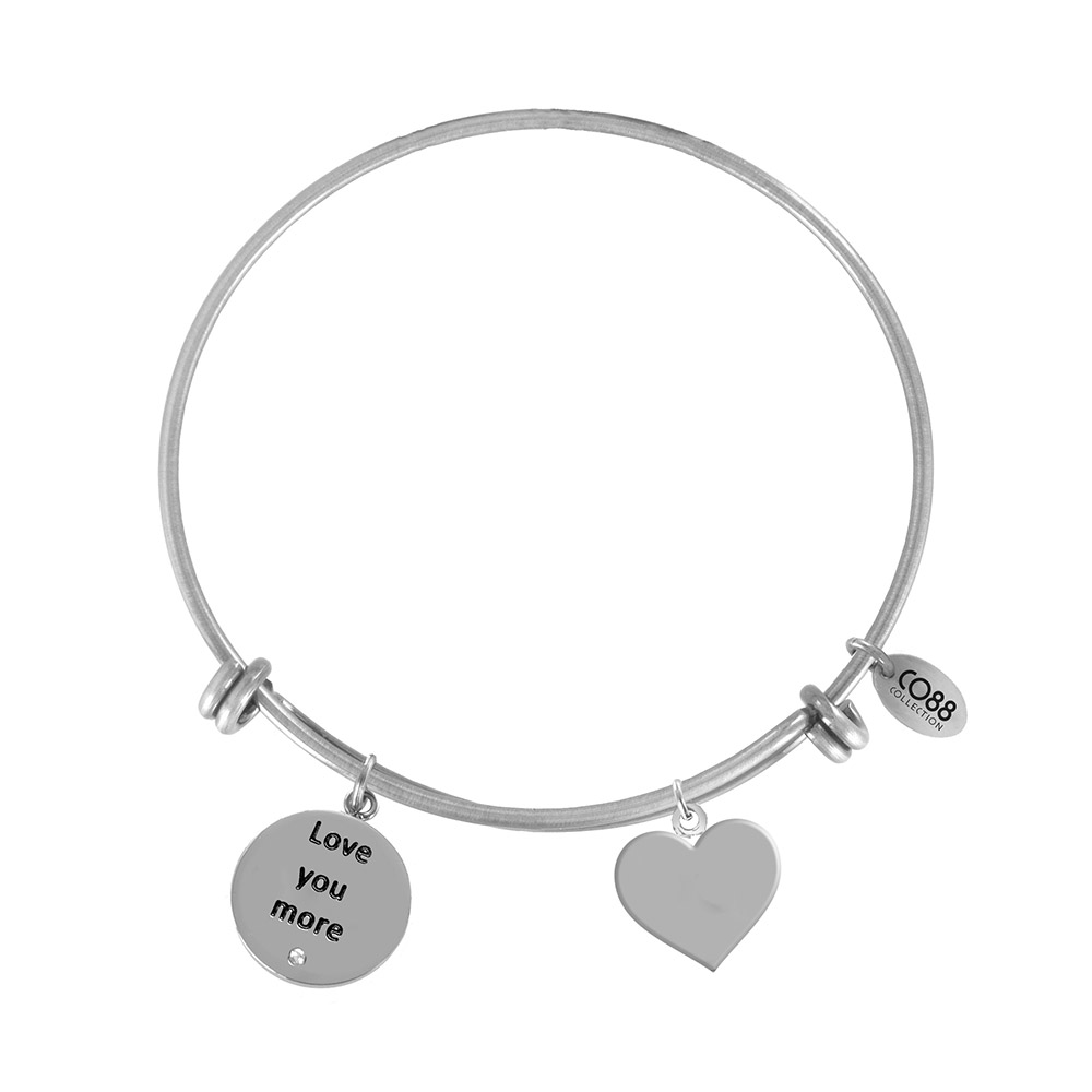 CO88 Armband 'Love You-Hart' staal-zilverkleurig, all-size 8CB-11015