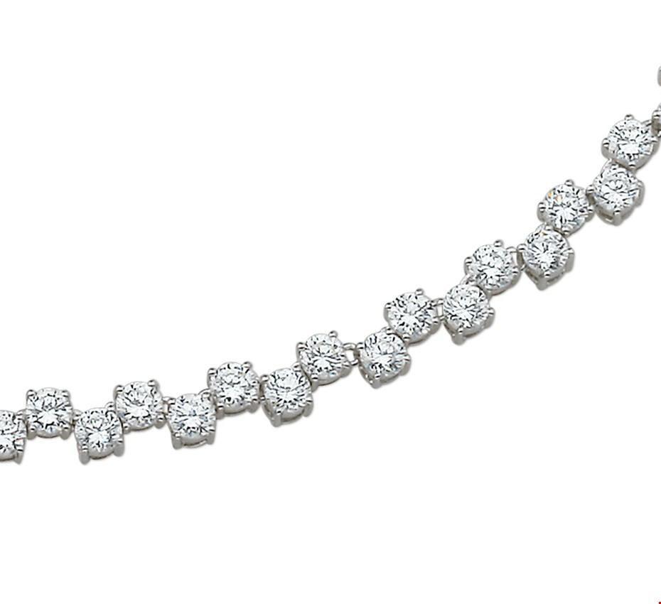 The Jewelry Collection Ketting Zirkonia - Zilver Gerhodineerd