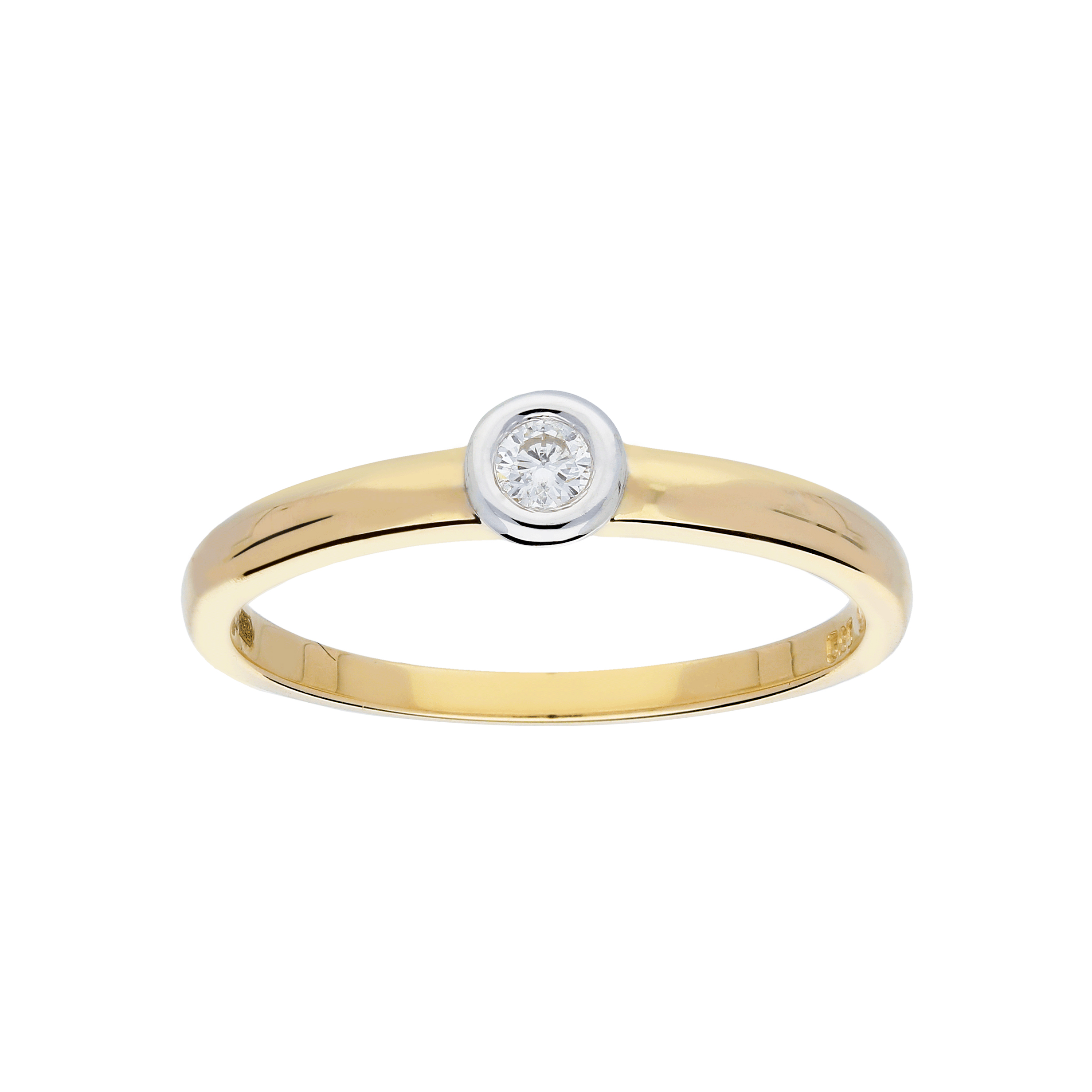 Glow Gouden Ring Bicolor Mat Glanzend Diamant 1 0.05ct G si 214.5308.52