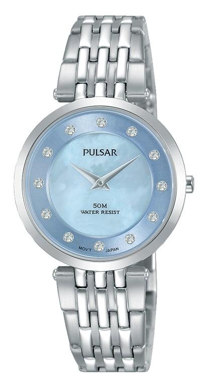 Pulsar Dameshorloge Staal/Swarovski zilverkleurig-blauw PM2255X1