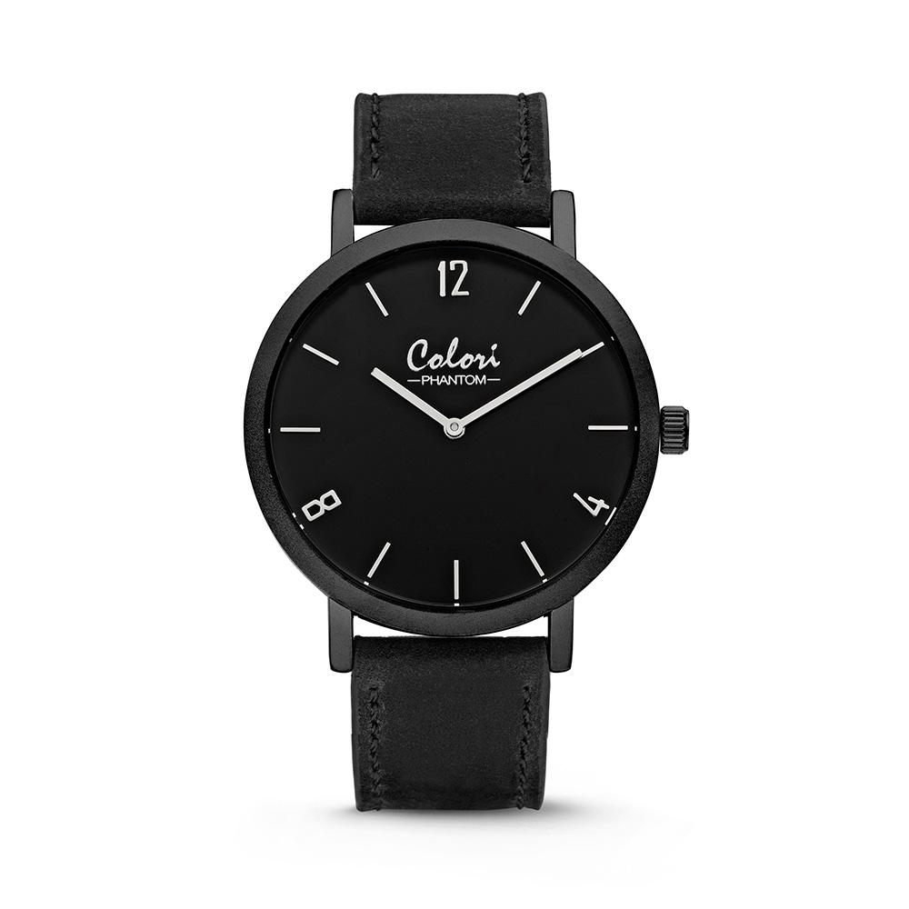 Colori Horloge Phantom staal/leder zwart-zwart 42 mm 5-COL438