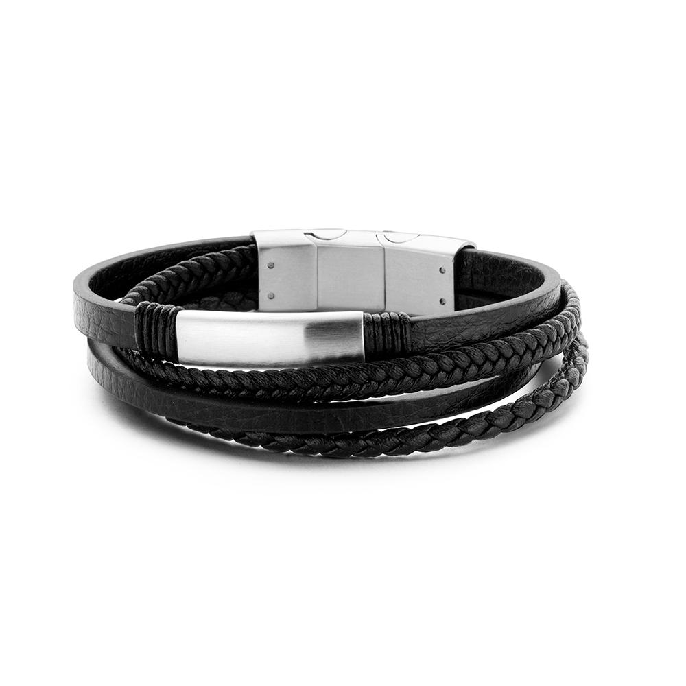 Frank 1967 Armband Leder-Staal FB-0228