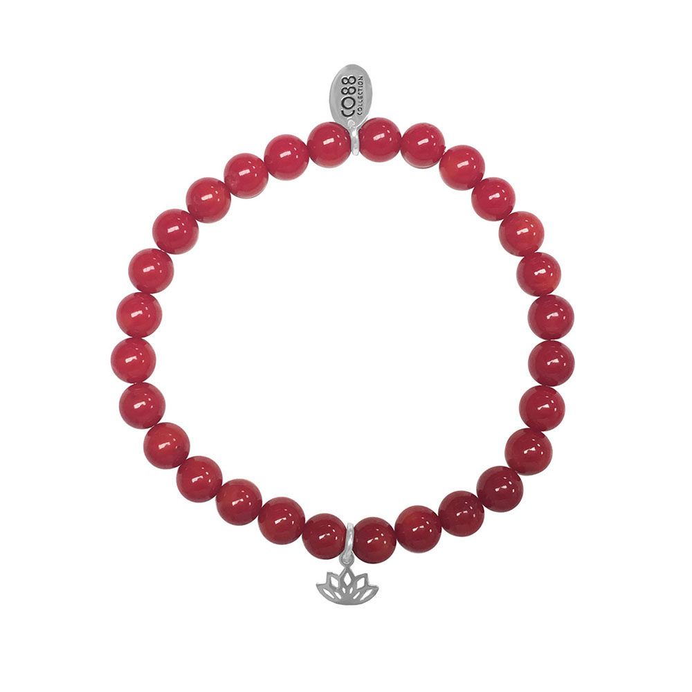 CO88 Armband Lotus Affection en Control staal/bamboo/rood, rek/all-size 8CB-17044