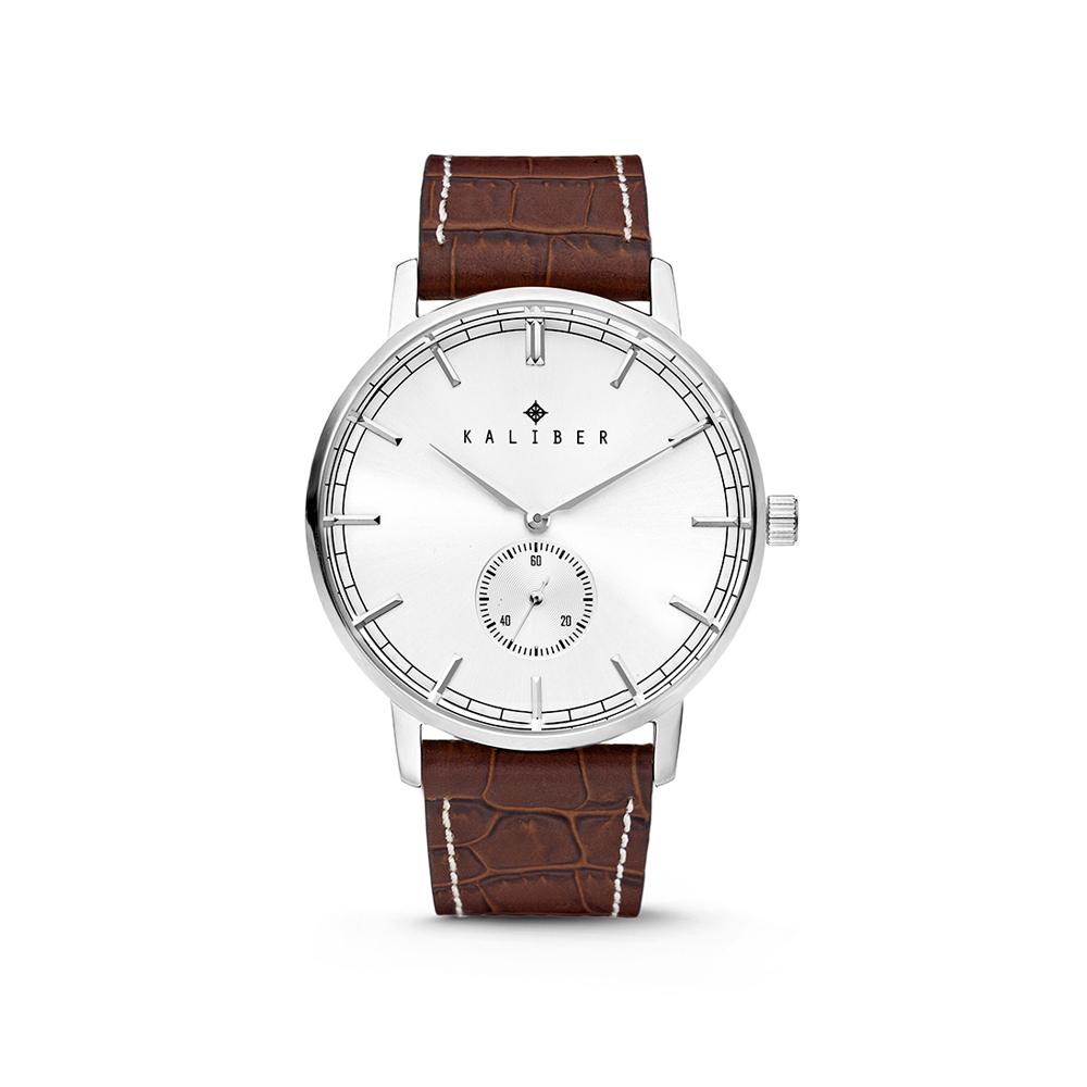 Kaliber 7KW-00001 Horloge met lederen band bruin-zilverkleurig 40 mm