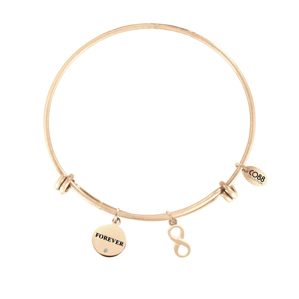 CO88 Armband 'Tekst-Infinity' staal/rosékleurig, all-size 8CB-13024