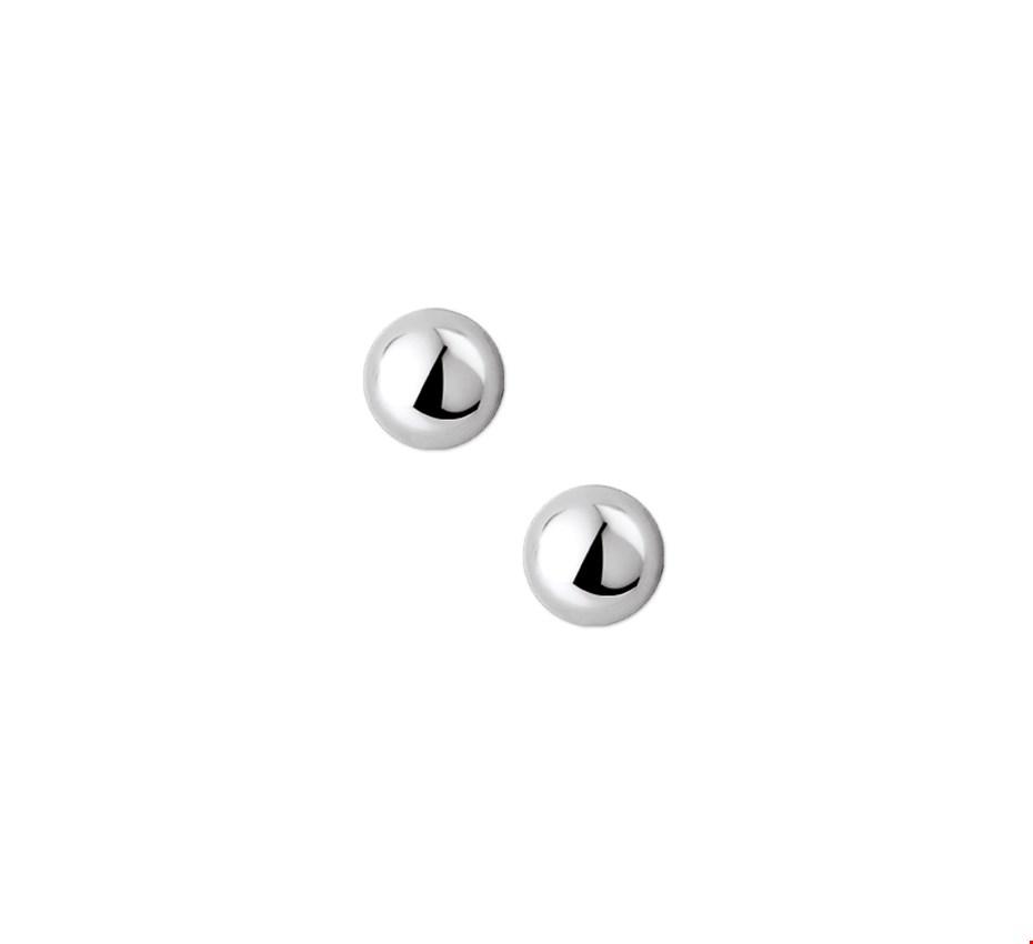 TFT Oorknoppen Halfbol Zilver Gerhodineerd Glanzend 8 mm x 8 mm
