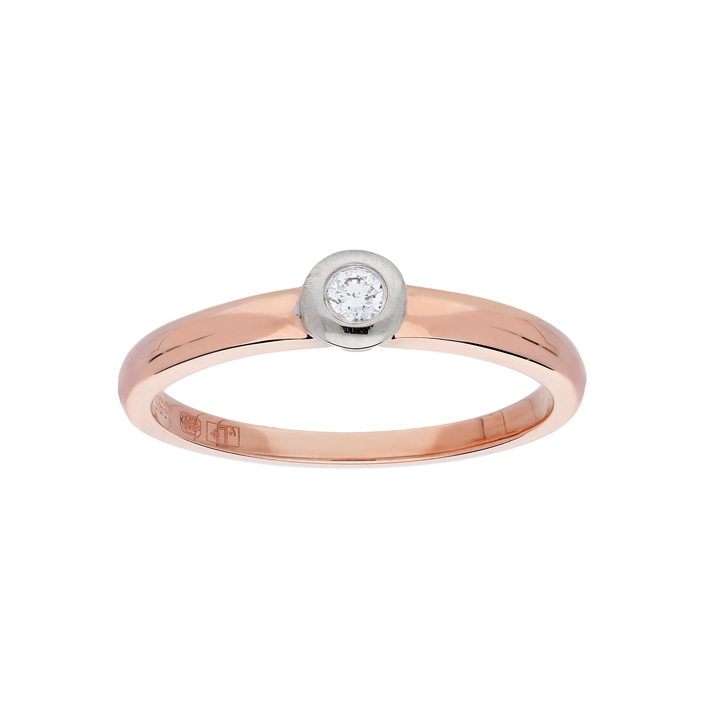 Glow Gouden Ring Bicolor Mat Glanzend Diamant 1 0.05ct G si 214.5208.54