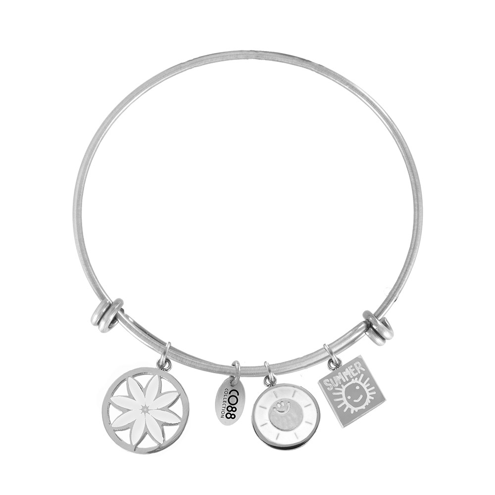 CO88 Armband Bangle 'Bloem/Zon/Zomer' staal, one-size 8CB-16007