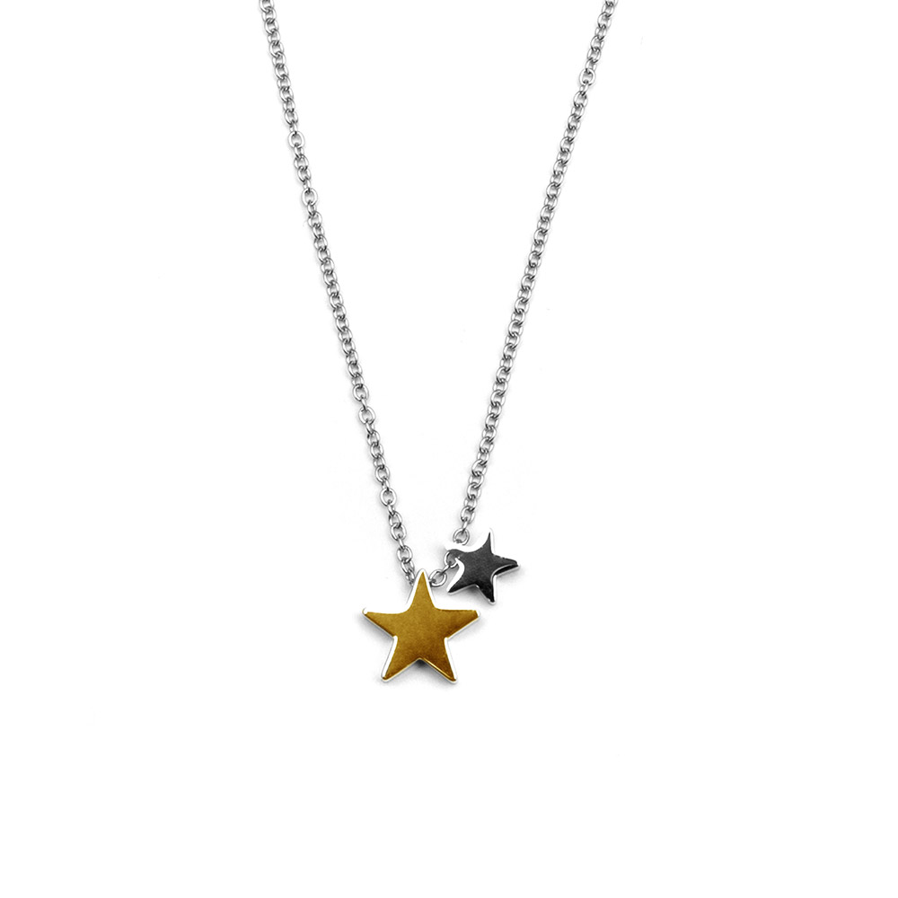 CO88 Collection 8CN-26035 - Stalen collier met hanger - sterren - lengte 38 + 5 cm - goudkleurig / zilverkleurig