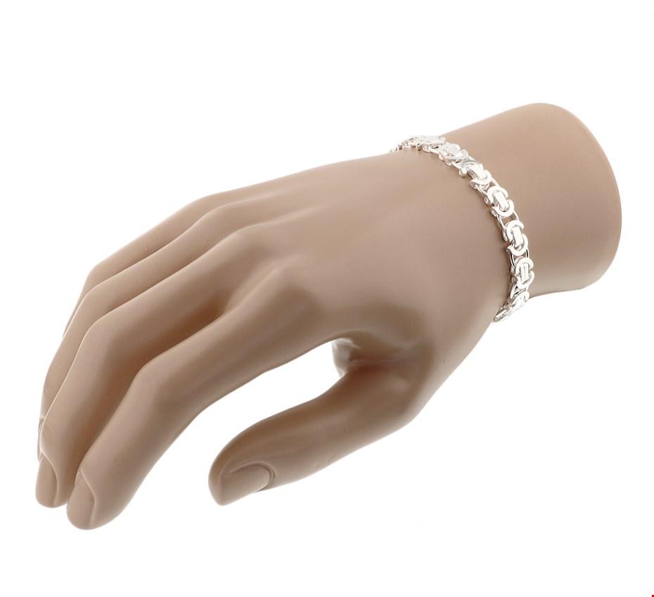 TFT Armband Zilver Konings Plat 7,5 mm 21 cm