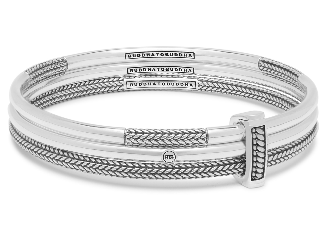 Buddha to Buddha 319 Armband Dunia Kasma Set zilver Maat M (17 19 cm)