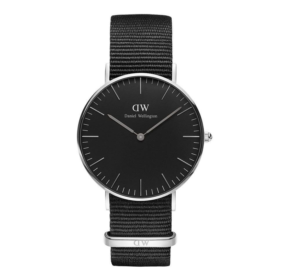 Daniel Wellington Horloge 'Classic Cornwall' silver-black 36 mm DW00100151