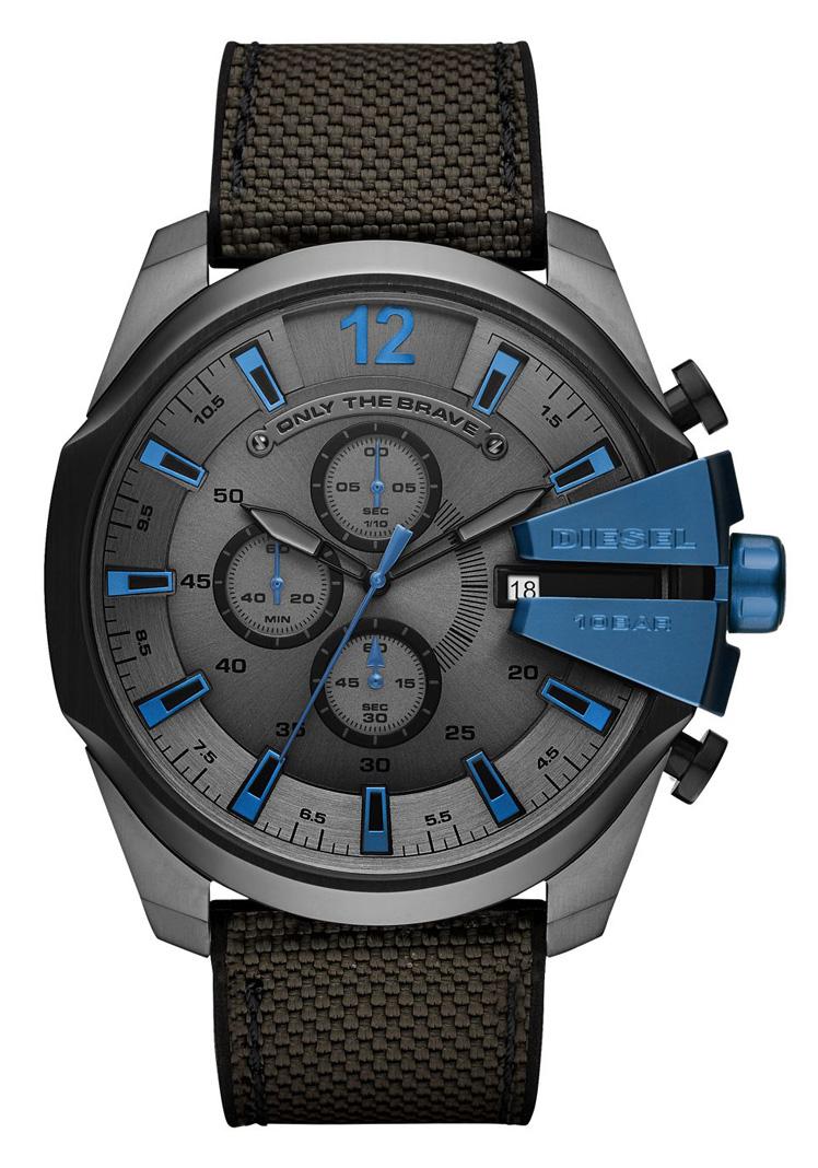 Diesel DZ4500 Horloge Mega Chief zwart blauw 52 mm