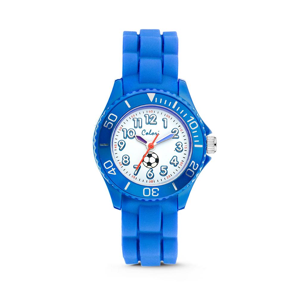 Colori kinderhorloge Voetbal blauw 30 mm 5-CLK011