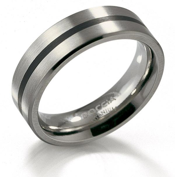 Boccia 0101-14 Ring Titanium-Emaille zilverkleurig-zwart 6 mm Maat 60