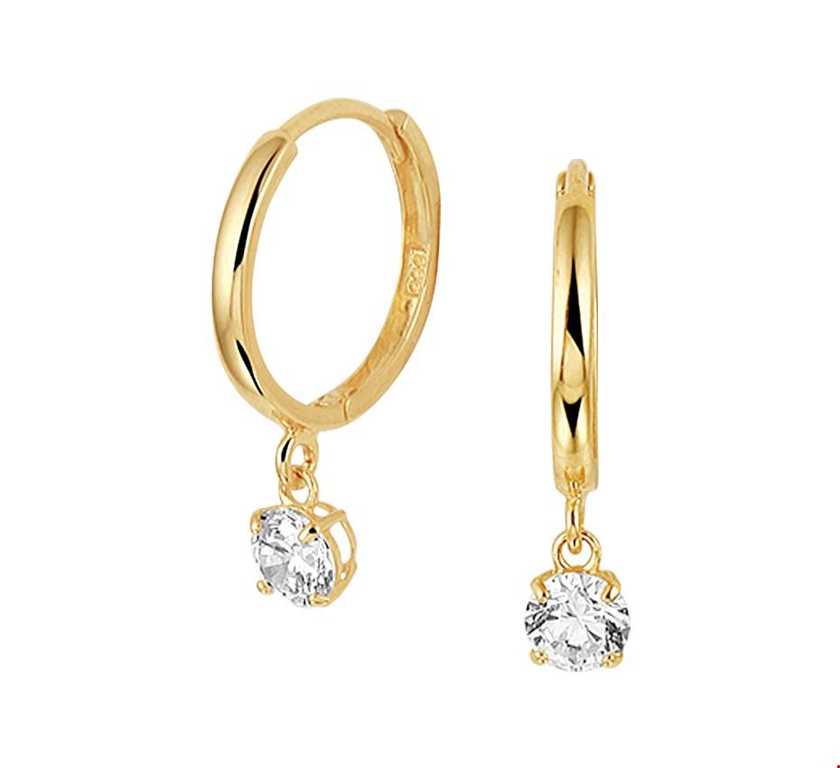 The Jewelry Collection Klapcreolen Zirkonia - Geelgoud