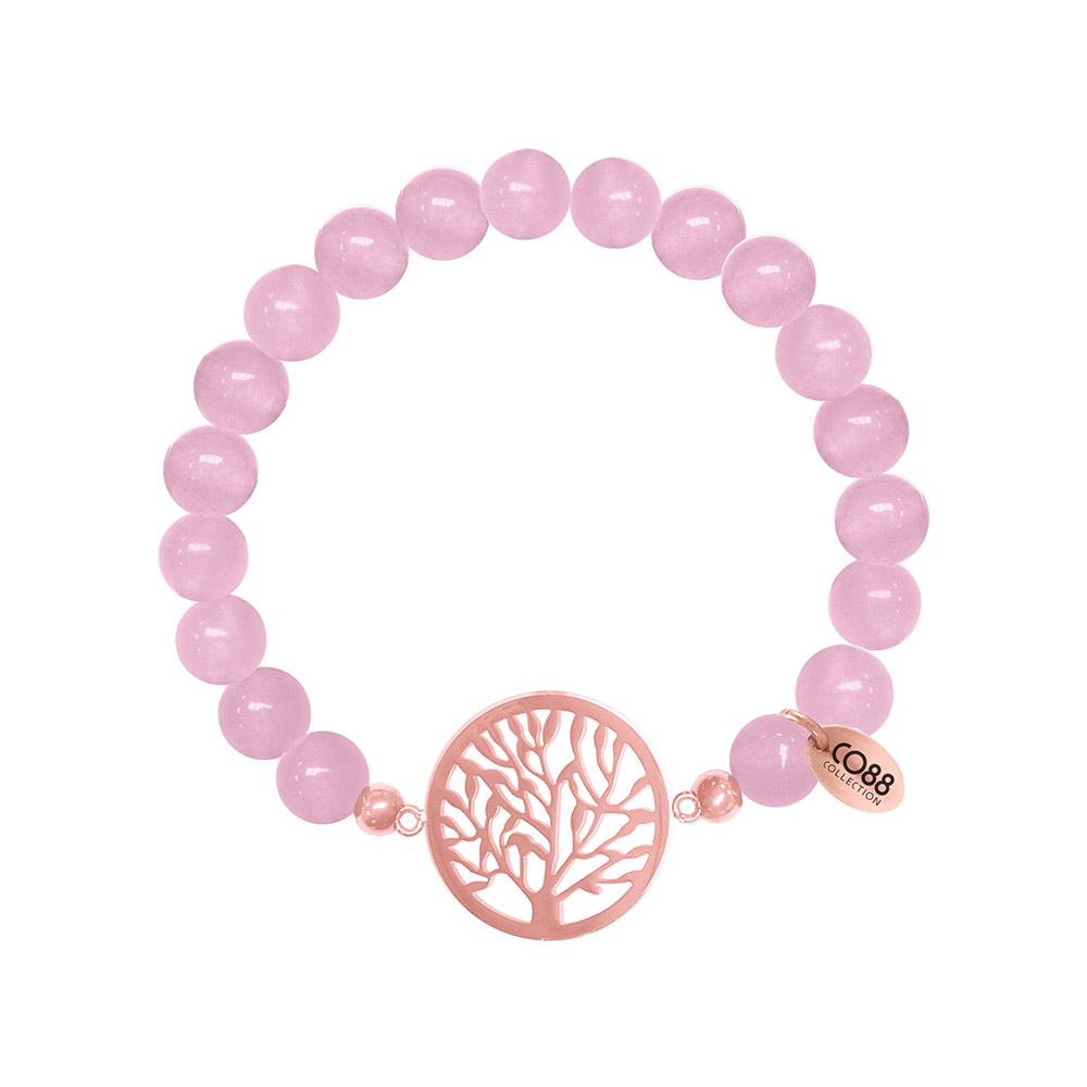 CO88 Armband levensboom staal-jade-roze, rek-one-size 8CB-80013
