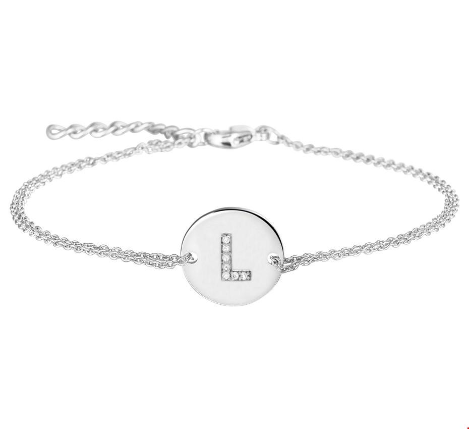 TFT Armband Zilver Letter L Zirkonia 1,2 mm 16,5 + 2,5 cm