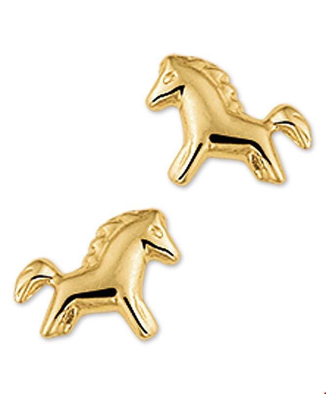 TFT Oorknoppen Paard Geelgoud Glanzend 6 mm x 8 mm