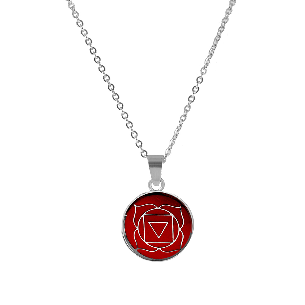 CO88 Ketting Chakra Root staal/glas rood 42-47 cm 8CN-26006