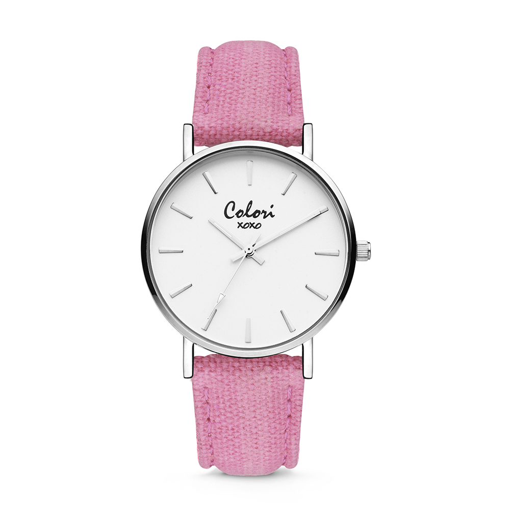 Colori XOXO 5 COL563 Horloge - Denim Band - Ø 36 mm - Roze - Zilverkleurig