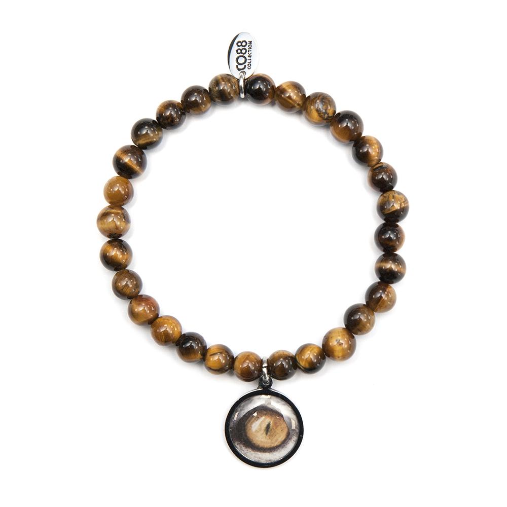 CO88 Collection 8CB-90042 - Natuurstenen armband met bedel - Tijgeroog 6 mm en tijgeroog bedel - one-size - bruin