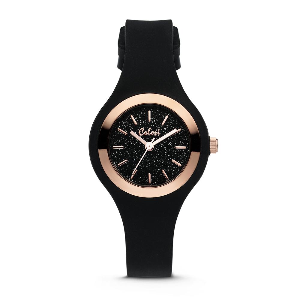 Colori Macaron Sparkle 5 COL542 Horloge - Siliconen Band - Ø 30 mm - Zwart - Rosekleurig