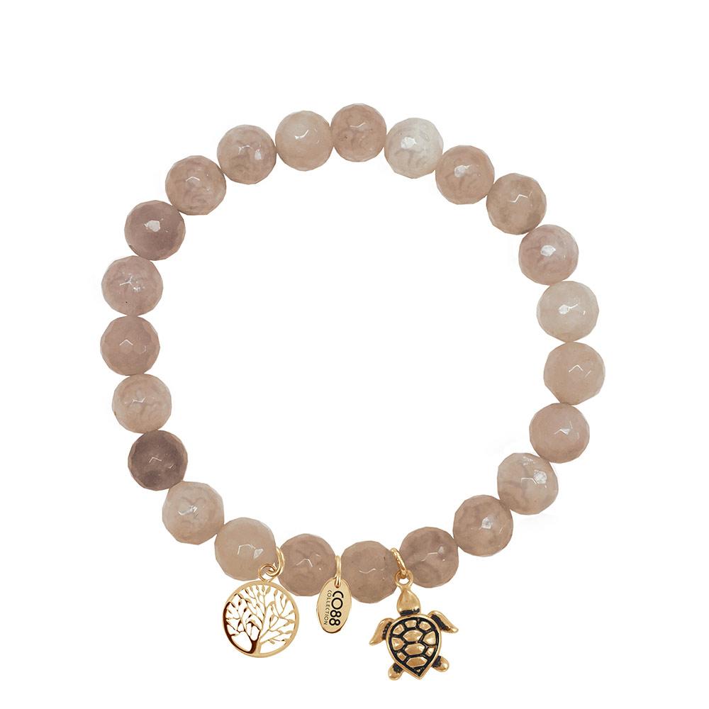 CO88 Armband met bedels levensboom/schildpad goud/bruin 8CB-90011