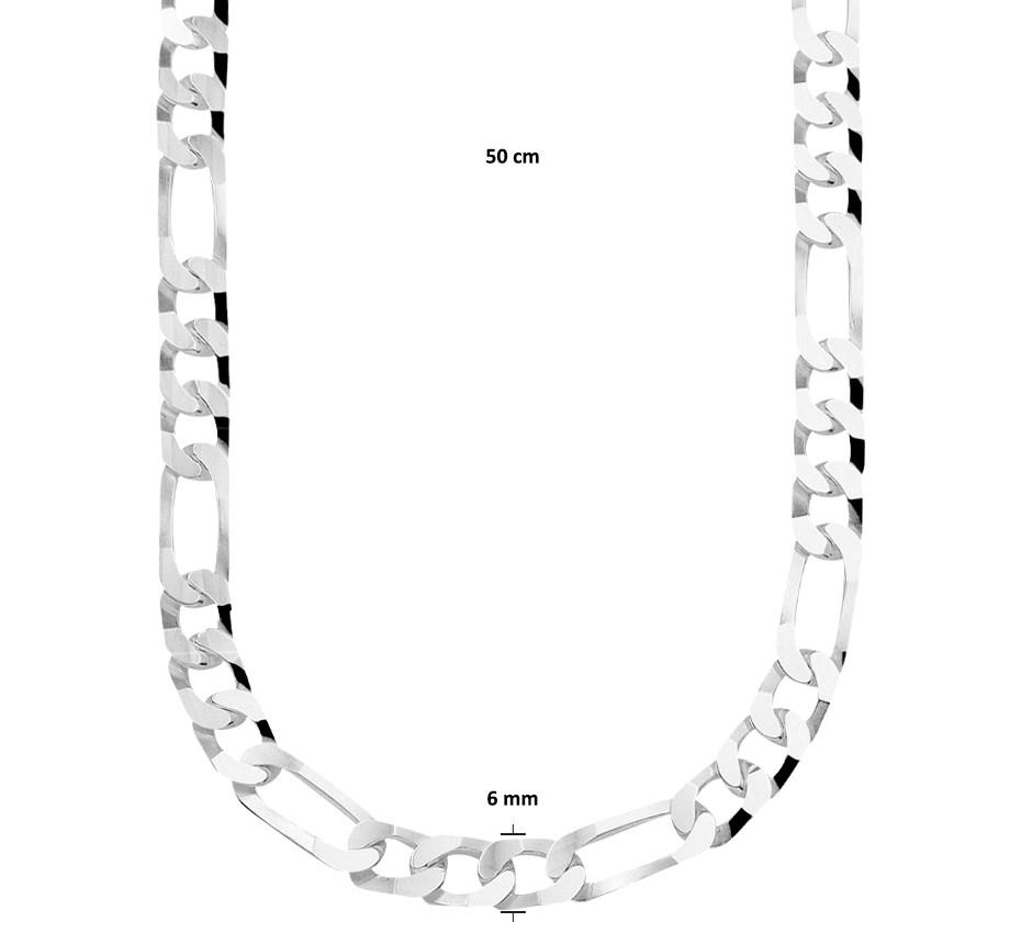 TFT Zilveren Ketting Figaro 6,0 mm x 50 cm