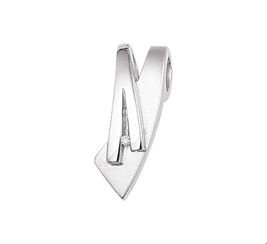 TFT Hanger Zilver gerhodineerd Diamant 0.007 Ct. Poli mat 19,5 x 7,5 mm