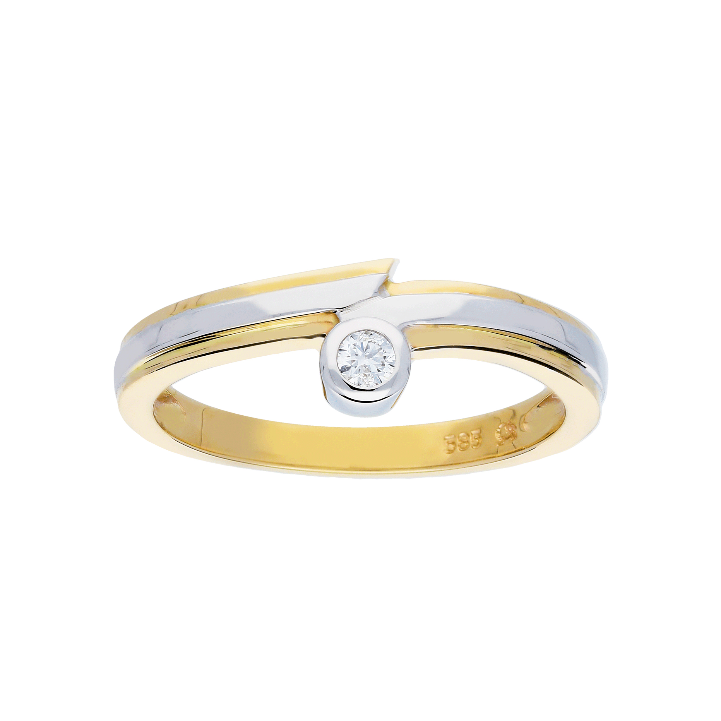 Glow Gouden Ring Bicolor Glanzend Diamant 1 0.055ct G si 214.5225.54