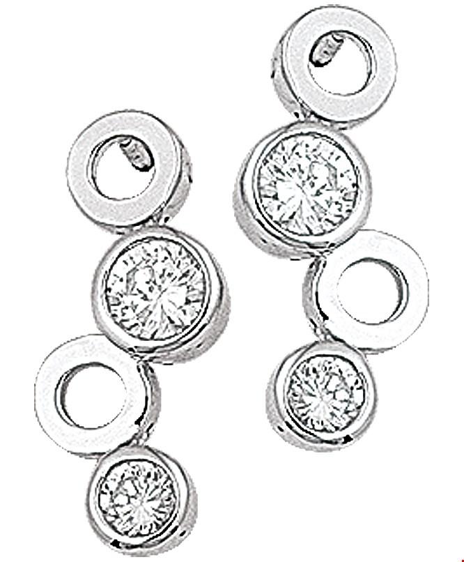 TFT Oorhangers Zirkonia Zilver Gerhodineerd Glanzend 18 mm x 9 mm