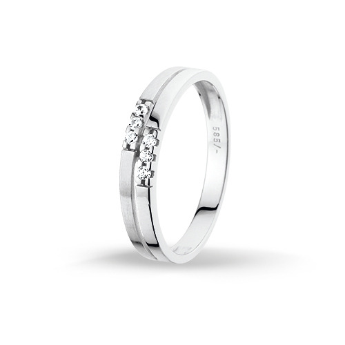 Huiscollectie 4102065 Witgouden zirkonia ring Maat 53 is 17mm